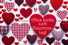 Red Hearts Texture, Text Valentinstag Means Happy Valentines Day Royalty Free Stock Image