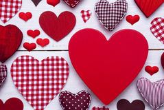 Red Hearts Texture On White Wooden Background, Copy Space, Macro Royalty Free Stock Photography