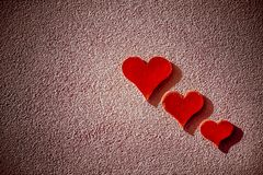 3 red hearts stock photo