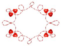 Red hearts tied with rope. Isolated on white background. Frame for Valentane`s day vector illustration