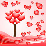 Red hearts tree Stock Photography