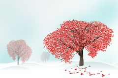 Love tree full of heart shaped leaves Royalty Free Stock Photo