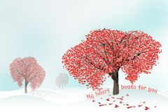 Love tree full of heart shaped leaves Stock Images