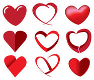 Red Hearts in Unique Designs. Vector illustration of red heart shape in different fun designs Royalty Free Illustration