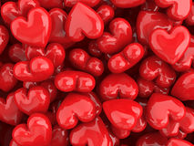 Red hearts valentine background. Red shiny assorted hearts valentine background stock illustration