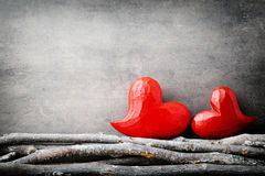 Red hearts. Valentine day greeting cards. Royalty Free Stock Photography