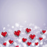 Red Hearts Valentine Holiday Card Stock Photo