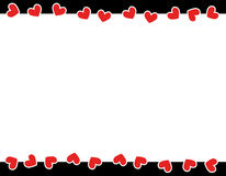 Red hearts valentine's day border Stock Photography