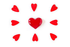 Red hearts for valentine's day and love Royalty Free Stock Images