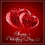 Red hearts on Valentines background Royalty Free Stock Photo
