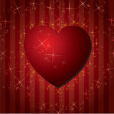 Red hearts Valentines Day Background with stars Stock Photography