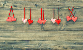 Red hearts. Valentines day background. Vintage style Royalty Free Stock Photography