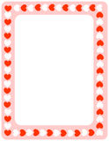 Red hearts valentines day border Stock Photography