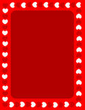 Red hearts valentines day border. Red hearts border for valentines day designs Royalty Free Stock Images