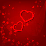 Red hearts Valentines day card on red background. With lines Stock Illustration