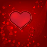 Red hearts Valentines day card on red background Royalty Free Stock Photo