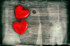 Red Hearts. Valentines Day. Vintage style with grunge effect Stock Image