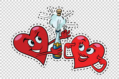 Red hearts Valentines open the champagne Royalty Free Stock Photos