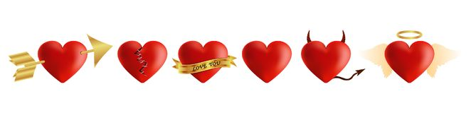 Red hearts vector 3d realistic set with arrows,. Key holes, puzzle and bandages for valentines day isolated in white background. Vector illustration Stock Photos