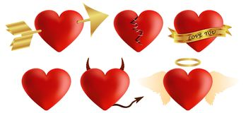 Red hearts vector 3d realistic set with arrows,. Key holes, puzzle and bandages for valentines day isolated in white background. Vector illustration Stock Photography
