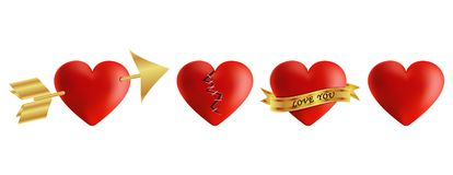 Red hearts vector 3d realistic set with arrows,. Key holes, puzzle and bandages for valentines day isolated in white background. Vector illustration Stock Image