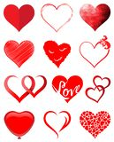 Red hearts vector set. With 12 symbols royalty free illustration
