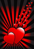 A red hearts vector valentines day background Royalty Free Stock Image