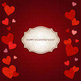 Red hearts and vintage label Stock Photo