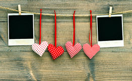 Red hearts and vintage photo frames. Valentines Day Stock Images