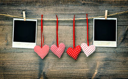 Red hearts and vintage photo frames. Valentines Day Stock Photography