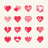16 red hearts - web icons set. Symbols of love - vector icon collection Stock Image