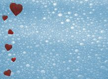 Red hearts on white background romance love bubbles