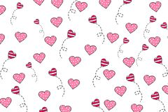 Red hearts on white background. Seamless Wallpaper, illustration, vector. Valentine`s day, postcard Stock Image