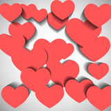 Red hearts on white background. With shadow Royalty Free Stock Image