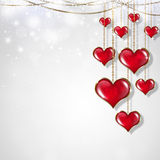 Red Hearts on White Background Royalty Free Stock Images