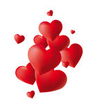 Red Hearts on white backgrounds Royalty Free Stock Photography