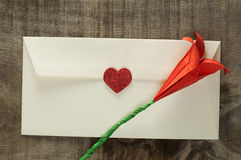 Red hearts and white envelope Stock Photo