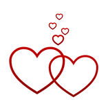 Red hearts on white Stock Image