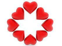Red hearts on white. In backgrounds Royalty Free Stock Images