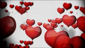 Red hearts with white shadow floating animation for Valentine's day stock video