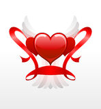 Red hearts with white wings Stock Photo