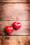 Red hearts on wood Stock Photo