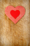 Red hearts on wood background Royalty Free Stock Photography