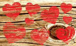 Red Hearts on Wood Texture Valentine Stock Images