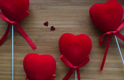 Red hearts on wood Stock Image
