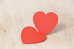Red hearts on wood Royalty Free Stock Images