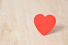 Red hearts on wood Stock Photos