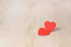 Red hearts on wood Royalty Free Stock Image