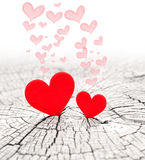 Red hearts. On a wooden background stock images