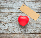Red hearts on wooden background Stock Images